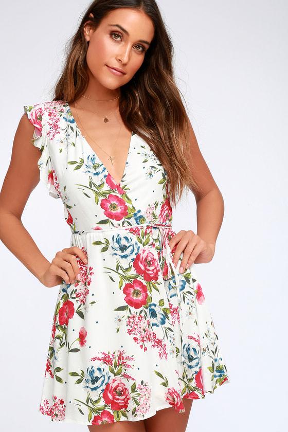 6a5ddf0cf Chic Wrap Dress - Floral Print Dress - White Wrap Dress