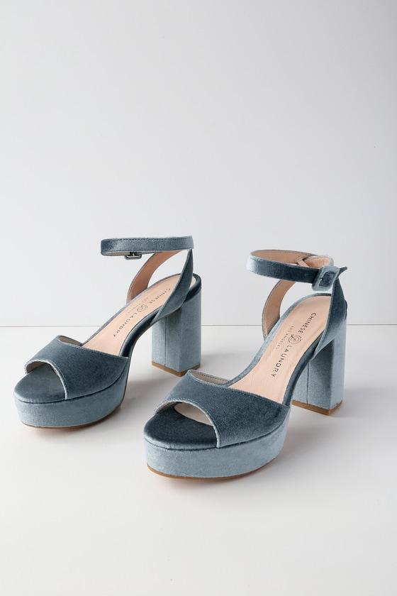 ed09289d52 Chinese Laundry Theresa - Blue Heels - Platform Heels