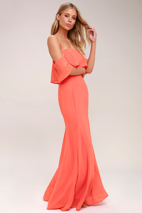 1ab8cf6d6 Coral Pink Dress - Off-the-Shoulder Dress - Maxi Dress