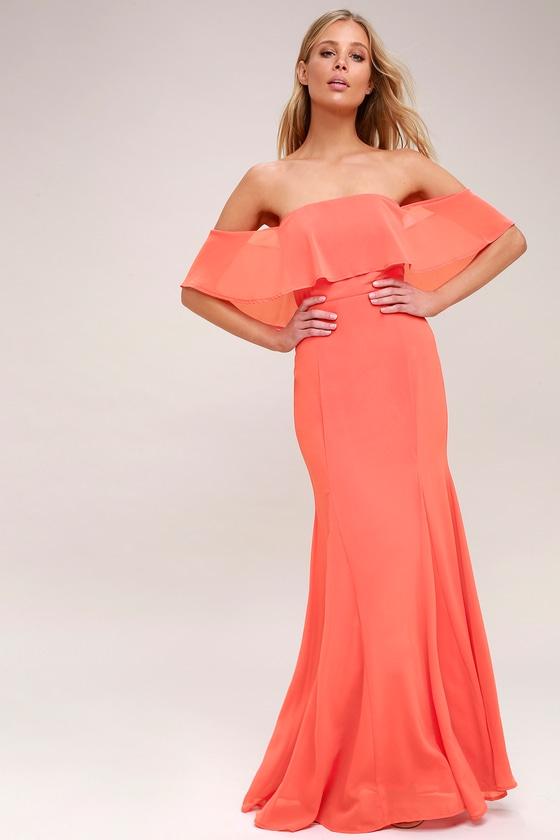 83d5efc6251b Coral Pink Dress - Off-the-Shoulder Dress - Maxi Dress