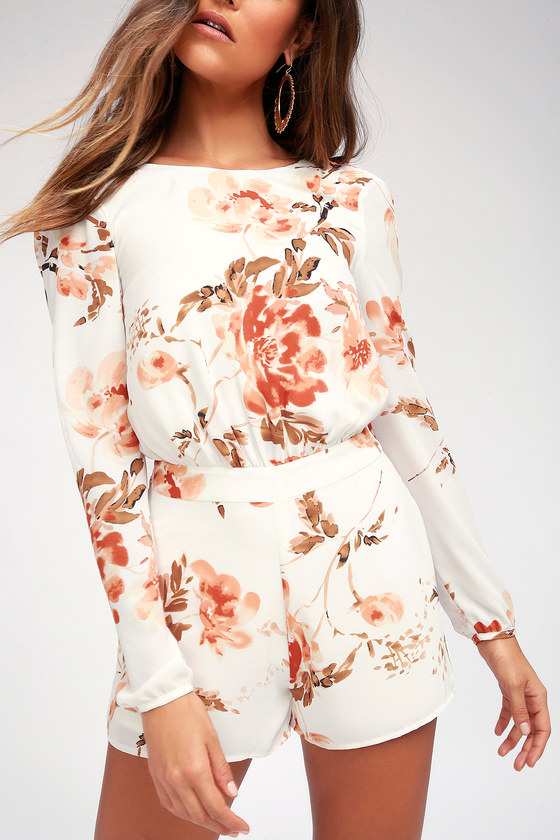 FLOWER POWER WHITE FLORAL PRINT BACKLESS ROMPER