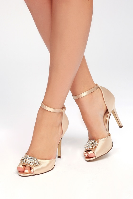 Bethany Nude Satin Rhinestone Ankle Strap Pumps 1