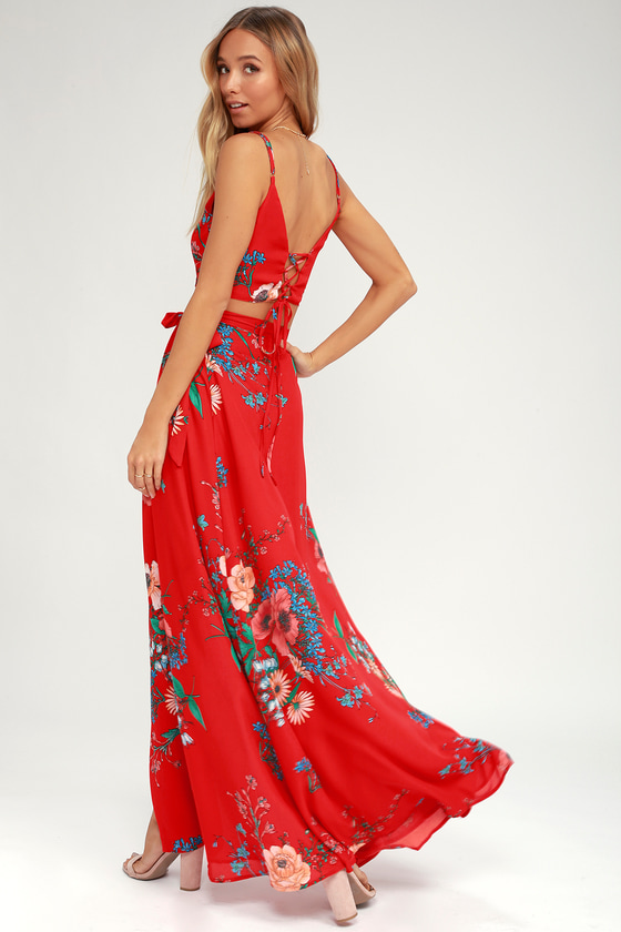 c537c49c8a23 Chic Two-Piece Dress - Floral Print Dress - Red Maxi Dress
