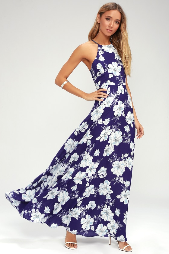 Lovely Royal Blue Floral Print Dress Halter Maxi Dress