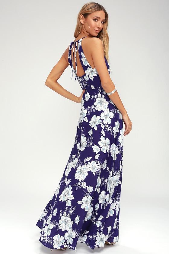 52d9c9b7b805 Lovely Royal Blue Floral Print Dress - Halter Maxi Dress