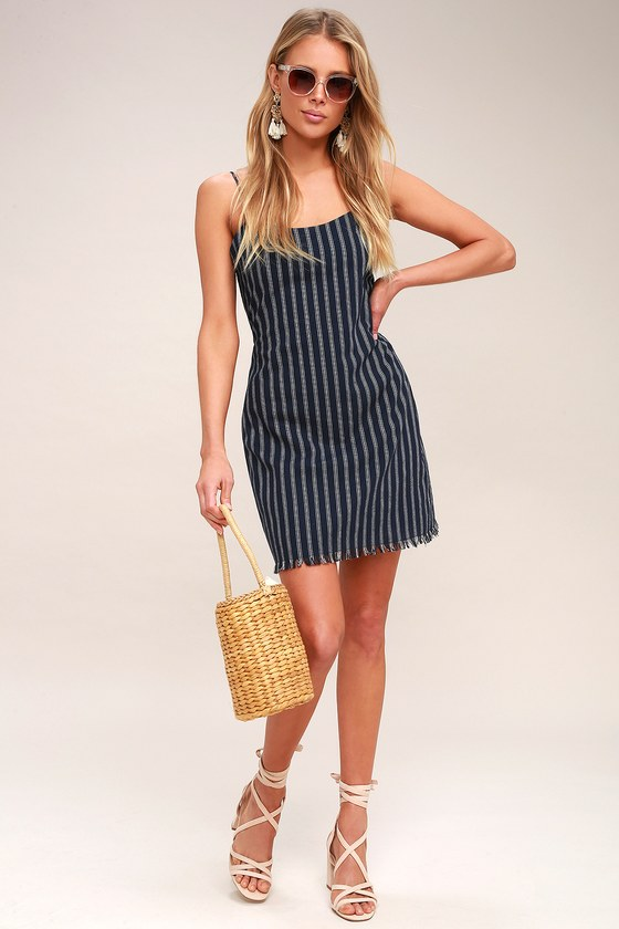 a96c39aca0a Cute Navy Blue Striped Dress - Mini Dress - Frayed Hem Dress