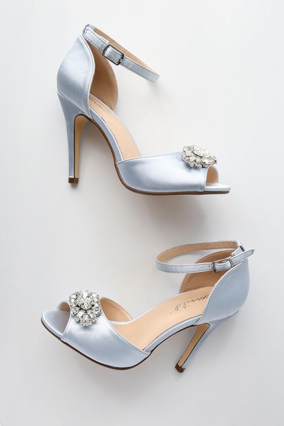 38a4c9fe1d94 Glam Rhinestone Heels - Silver Satin Heels - Peep-toe Heels