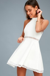 Reach Out My Hand White Lace Skater Dress