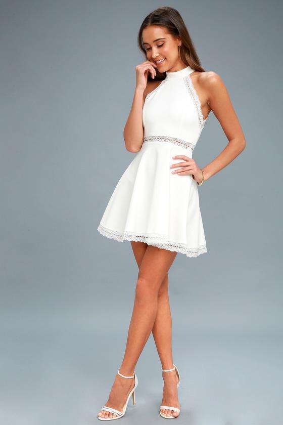 f8225135fc White Dress - Lace Dress - Skater Dress - Halter Dress - LWD