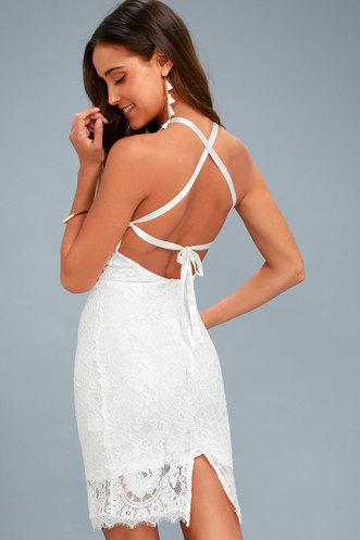cebc0f86e7 Wishful Wanderings White Lace Bodycon Midi Dress