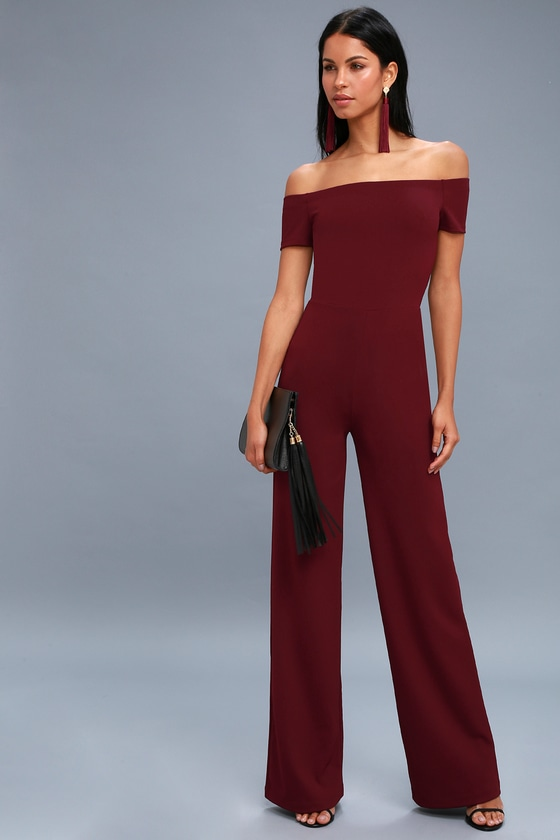 610ecbedd154 Sexy Burgundy Off-the-Shoulder Jumpsuit - Wide-Leg Jumpsuit