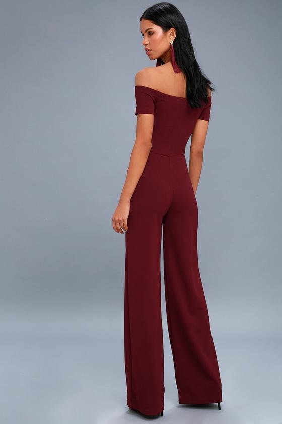 338e058539 Sexy Burgundy Off-the-Shoulder Jumpsuit - Wide-Leg Jumpsuit
