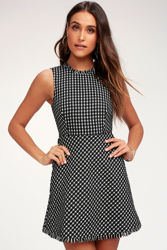 1235a4ac173 Chic Black and White Checkered Dress - Boucle A-Line Dress