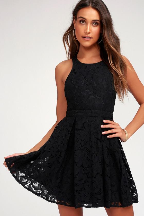 Cute Black Dress Eyelet Lace Dress Skater Dress