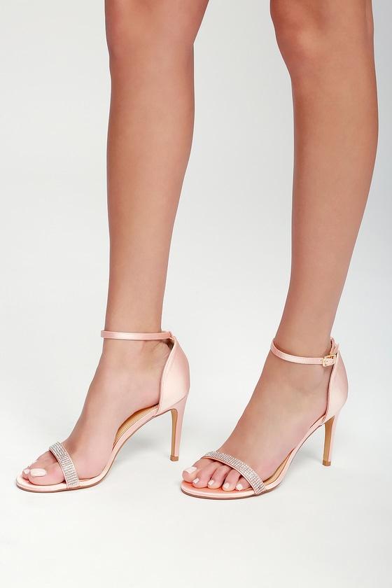 7fd74160ff20 Elegant Rhinestone Heels - Ankle Strap Heels - Blush Heels