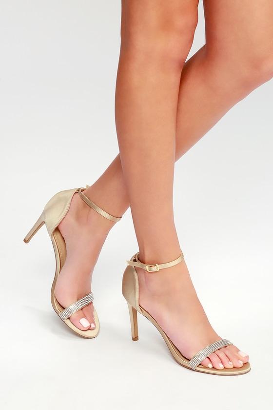 Lulus Jam Dark Nude Suede Rhinestone Ankle Strap Heels - Lulus OxhDPzG1wP