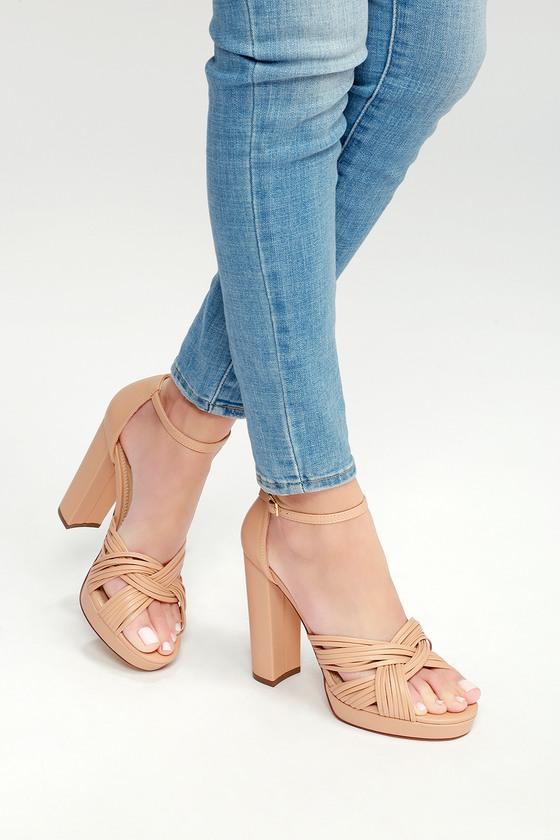 c58b5563a0d Chic Nude Heels - Vegan Leather Heels - Platform Heels