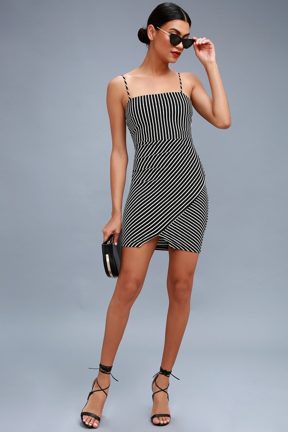 Black and white striped bodycon dress style and