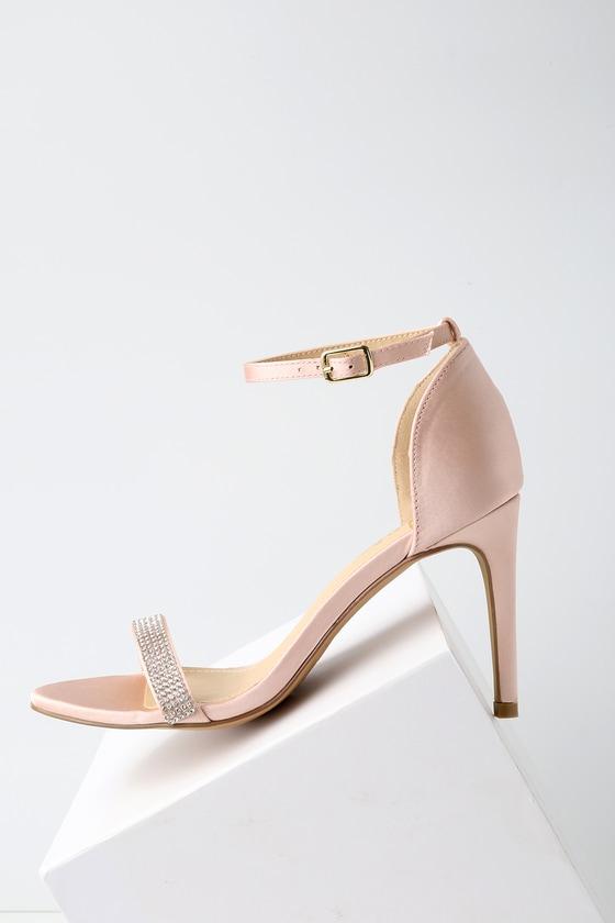 f6f030ec2fd1 Elegant Rhinestone Heels - Ankle Strap Heels - Blush Heels
