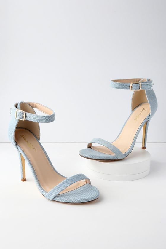 519bb55057c Chic Light Blue Heels - Ankle Strap Heels - Denim Heels