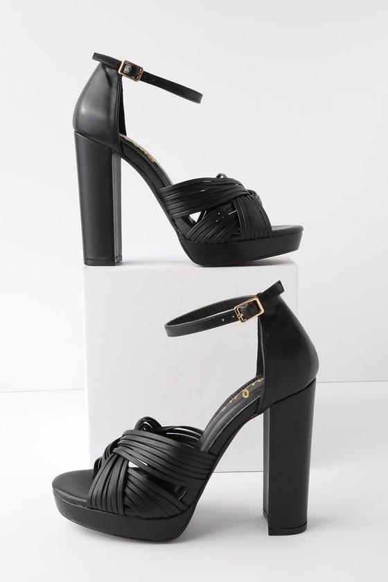 Sivan Black Platform Ankle Strap Heels by Lulus