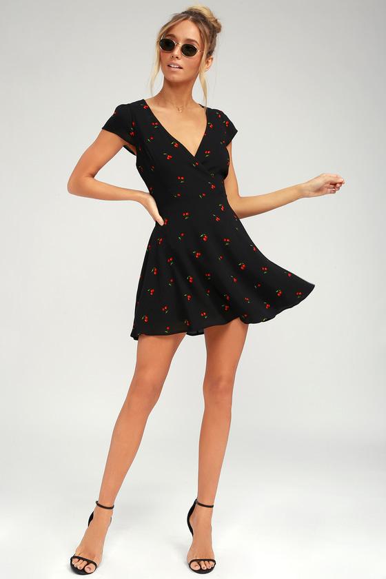 b2f3e6d53bf Cute Black Cherry Print Dress - Cherry Print Skater Dress
