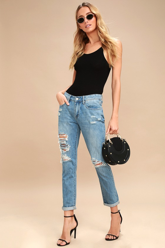 896384de9a9 Cute Boyfriend Jeans - Medium Wash Distressed Jeans