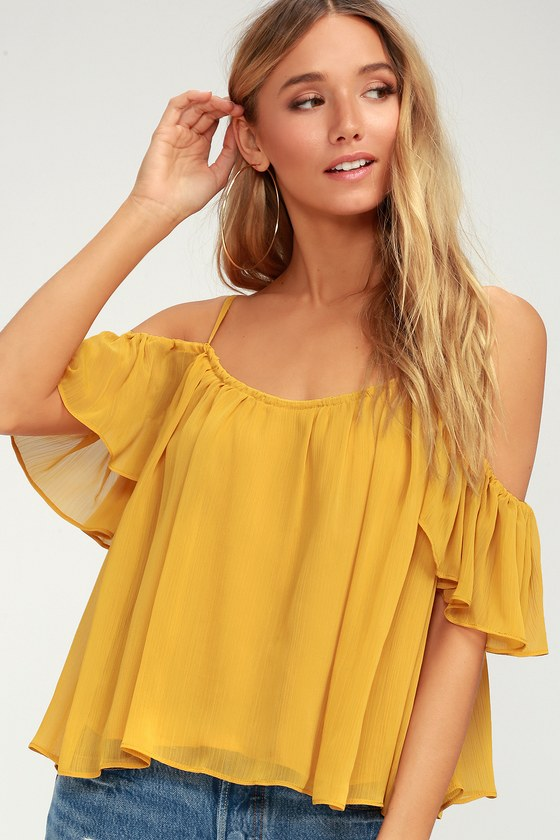 f9a6b4a41e Lovely Golden Yellow Top - Off-The-Shoulder Top - Cold Shoulder Top -  28.00
