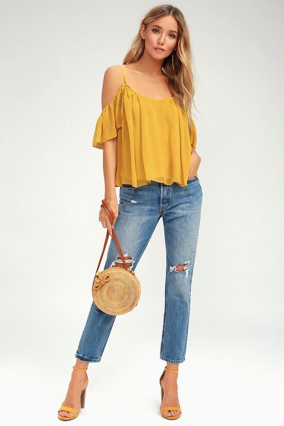 d0aad2de53dca0 Lovely Golden Yellow Top - Off-The-Shoulder Top - Cold Shoulder Top ...