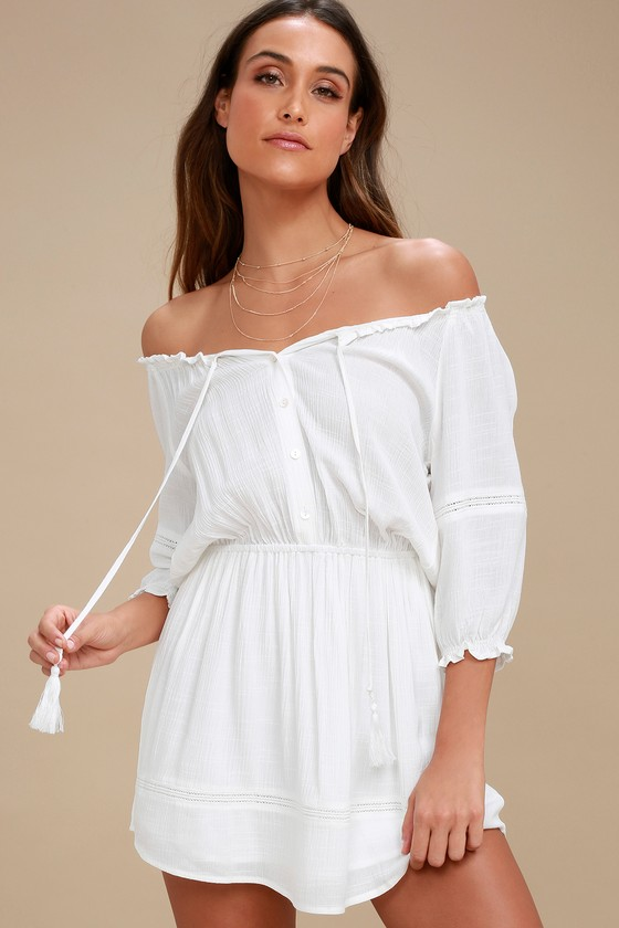 White Flowy One Shoulder Dress