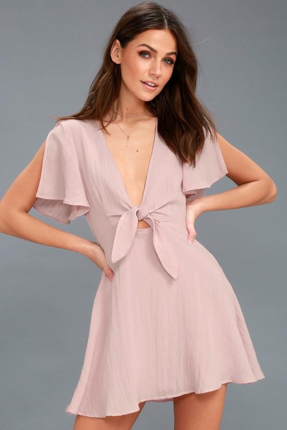 2c242e998a0 Cute Washed Mauve Dress - Skater Dress - Tying Cutout Dress