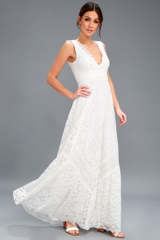 46923ca3b9b Boho Bridal Dress - White Lace Maxi Dress - Lace Dress