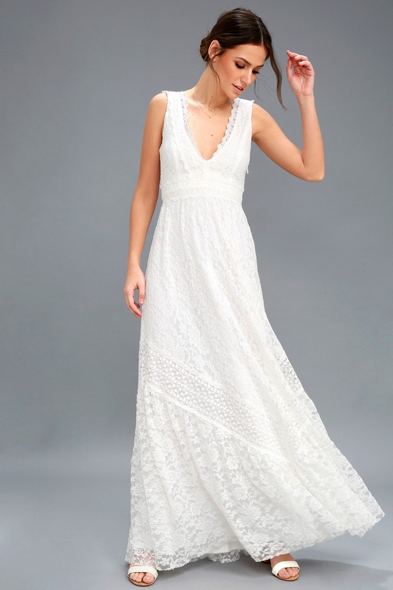 0636839b316ad Boho Bridal Dress - White Lace Maxi Dress - Lace Dress