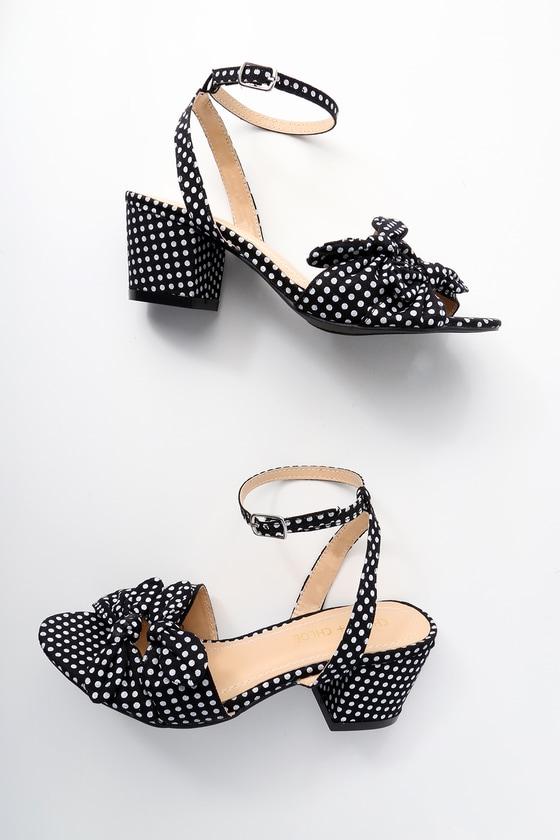 032db180e308 Cute Black Polka Dot Sandals - High Heel Sandals