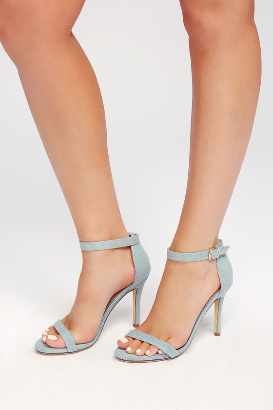 f5b4a47e3 Chic Light Blue Heels - Ankle Strap Heels - Denim Heels