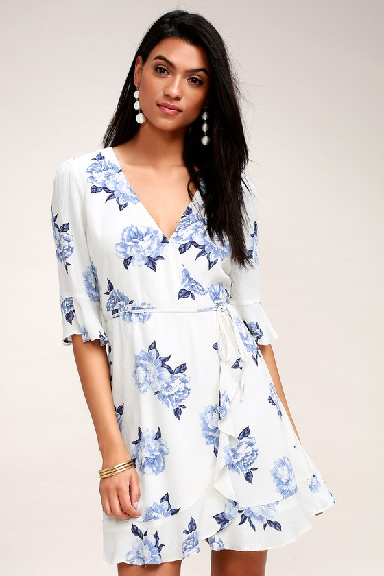 Pretty Peony Blue and White Floral Print Wrap Dress - Lulus