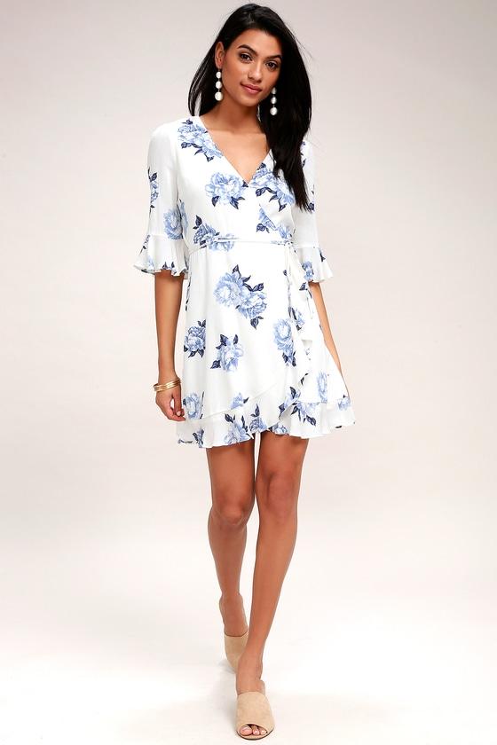 313773ade4a Lovely White Floral Print Dress - Floral Print Wrap Dress