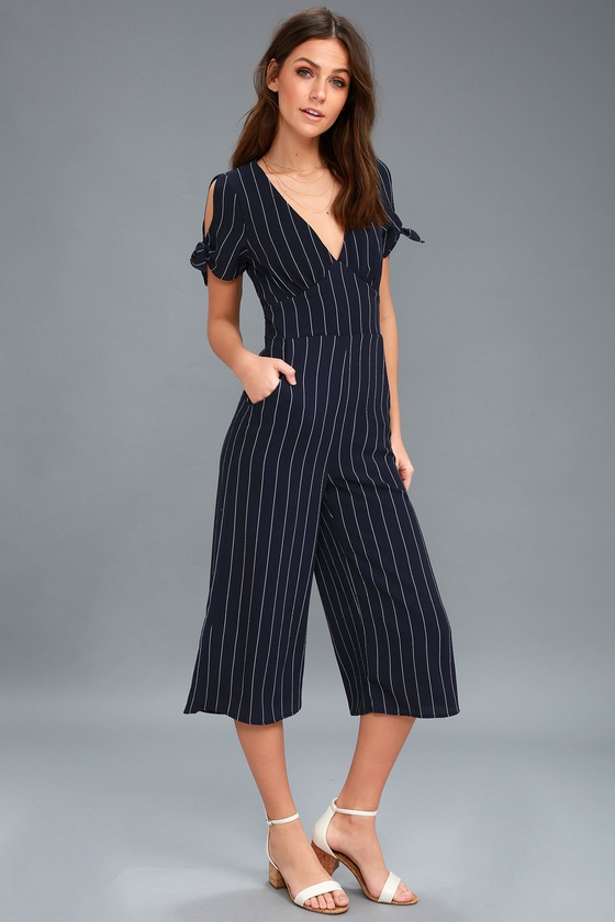 117a8f1803 Chic Navy Blue Striped Jumpsuit - Striped Culotte Jumpsuit