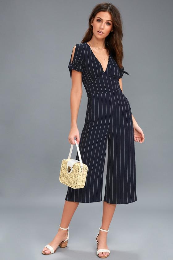 d1fe8fabdcba Chic Navy Blue Striped Jumpsuit - Striped Culotte Jumpsuit