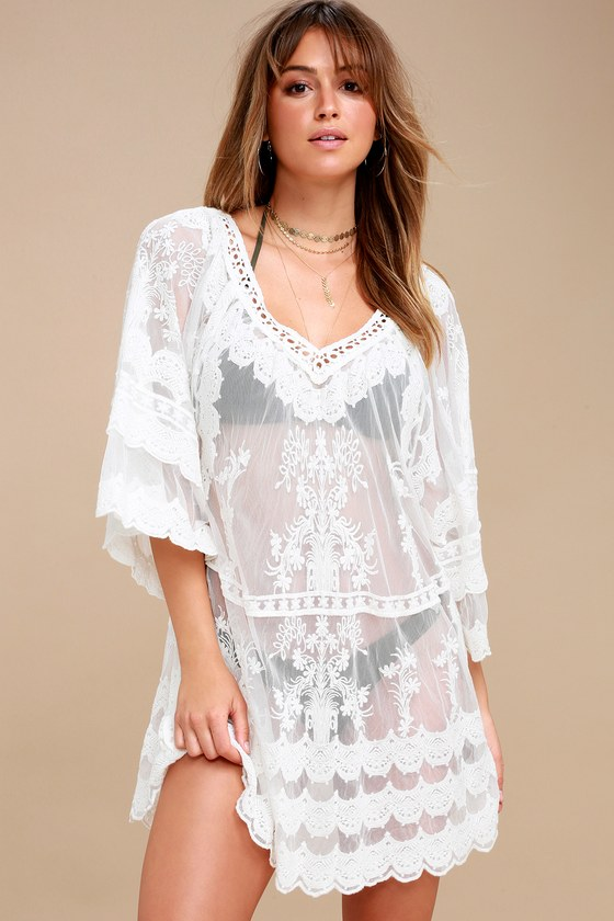 4219d2e640 Boho Cover-Up - Sheer Cover-Up - White Lace Cover-Up
