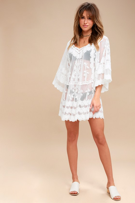 35bfce4412 Boho Cover-Up - Sheer Cover-Up - White Lace Cover-Up