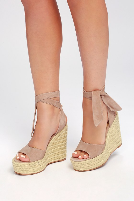 Tony Bianco Barca Blush Suede Lace Up Espadrille Wedges