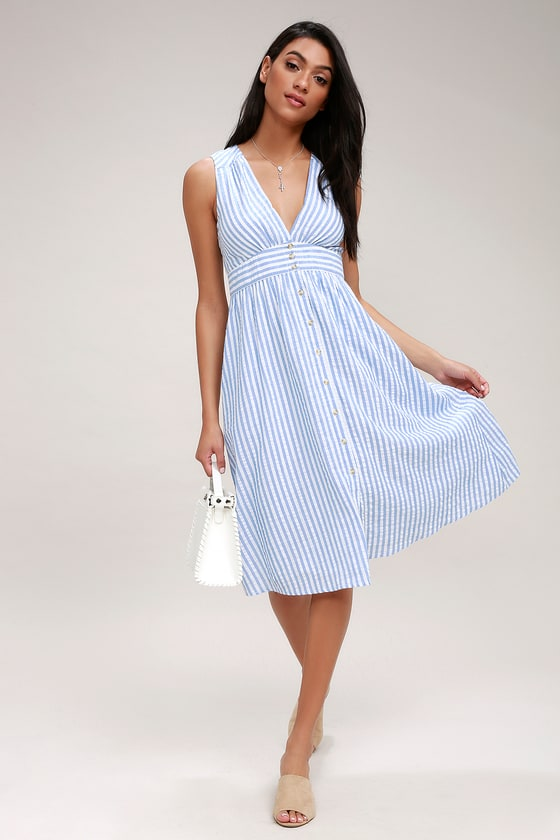 Cute Blue And White Striped Dress Button Front Midi Dress