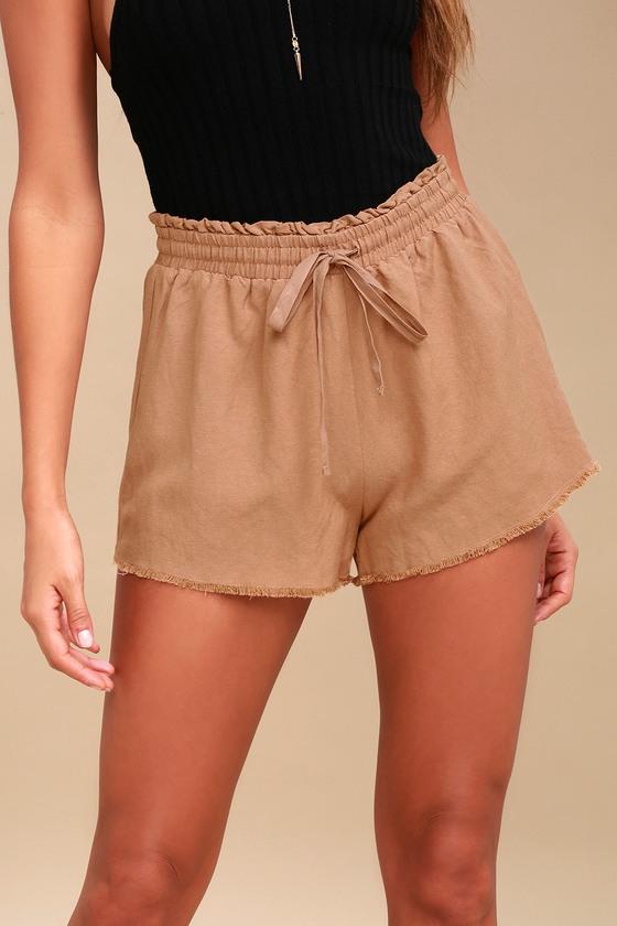 638a48f94 Cute Nude Shorts - High-Waisted Shorts - Frayed Shorts
