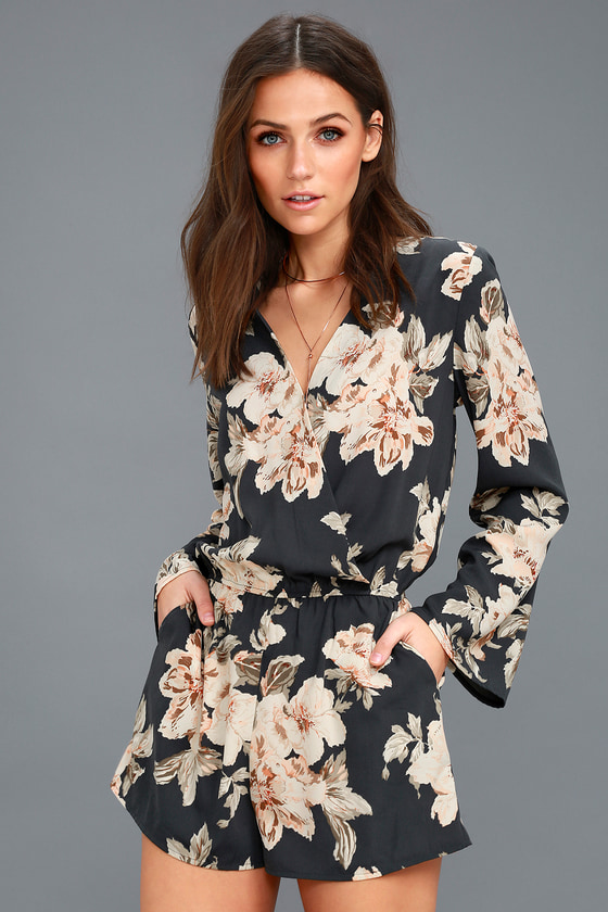 42ee0d388d9 Washed Navy Blue Romper - Floral Print Long Sleeve Romper