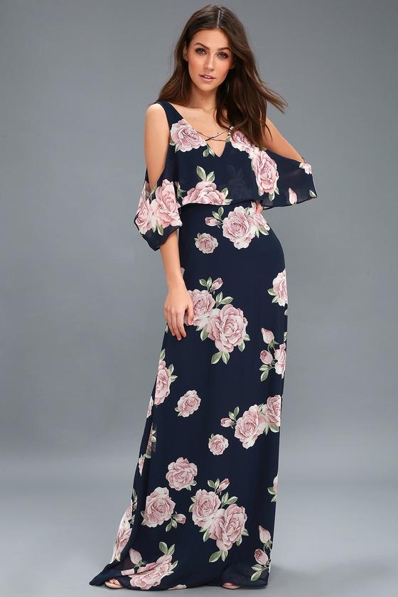 730ab20ab83 Lovely Navy Blue Floral Print Dress - Off-the-Shoulder Maxi