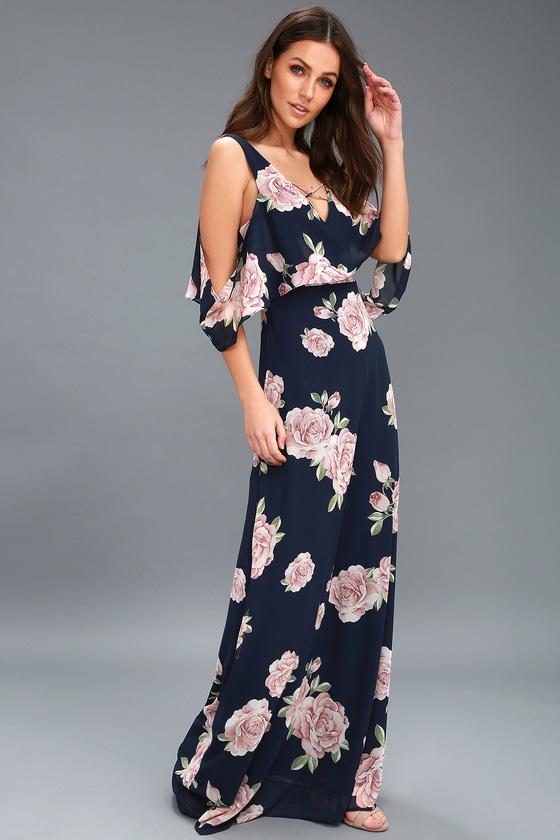 cf511d7b2d28 Lovely Navy Blue Floral Print Dress - Off-the-Shoulder Maxi