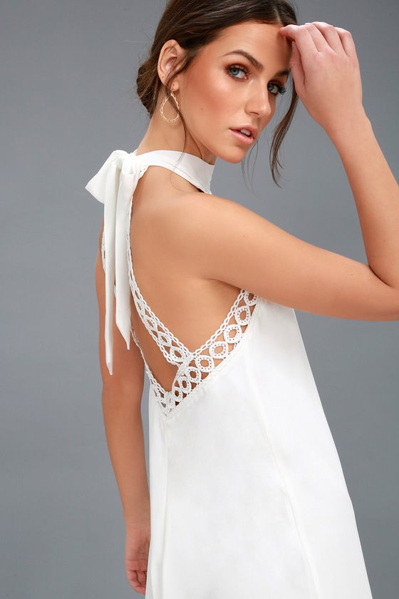 22d521a4d7 Any Sway, Shape, or Form White Lace Halter Dress