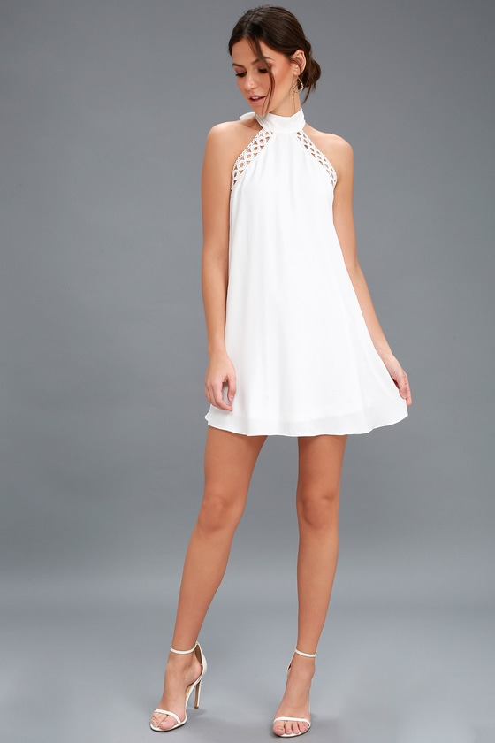 Any Sway, Shape, or Form White Lace Halter Dress