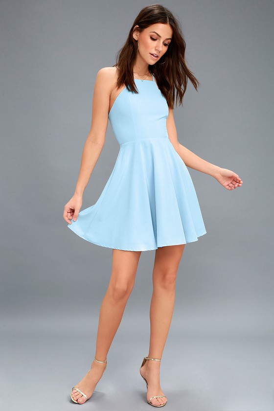 Cute Light Blue Dress - Skater Dress - Fit-and-Flare Dress 7e2fac4f9